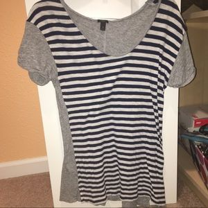 J crew white navy striped grey color block T-shirt